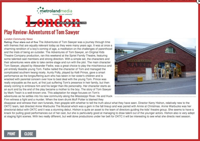 London Community News' Review of The Adventures of Tom Sawyer