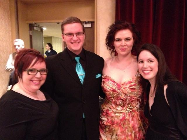 With Jess, Joel and Kaitlyn.  Don't know what I was looking at, but everyone looks stunning!