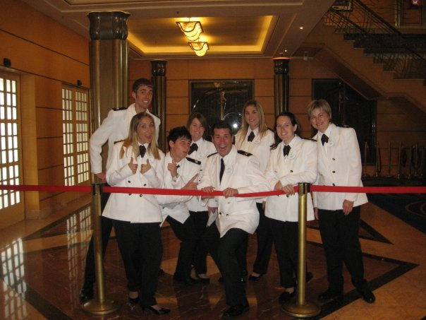 "DCL Welcome Line... look how fancy we are in our ""officer whites."""
