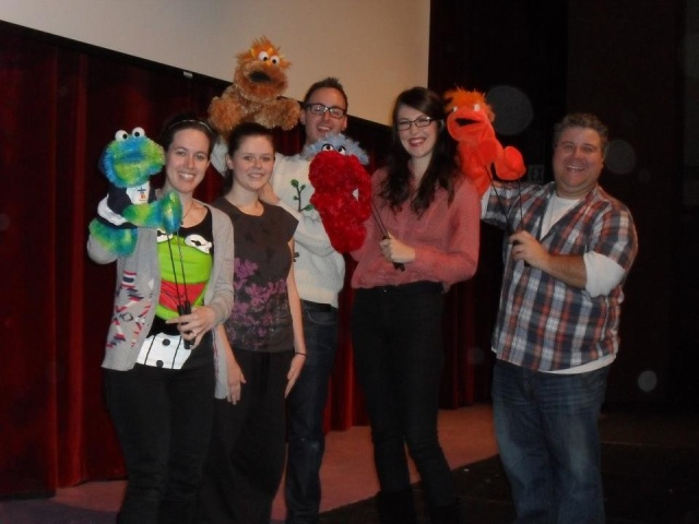 Myself, Kezia, Matt, Britt and Sam with our puppet pals!