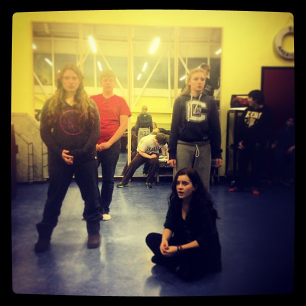 Carlotta, Chef Louis, Sebastian and Ariel in rehearsal.