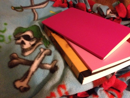 My Moleskine journals and my pirate blanket. Both were necessary this week.  Yarrr.