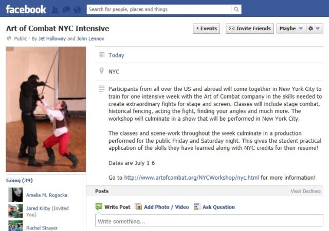 Art of Combat 2013 NYC Intensive - facebook event